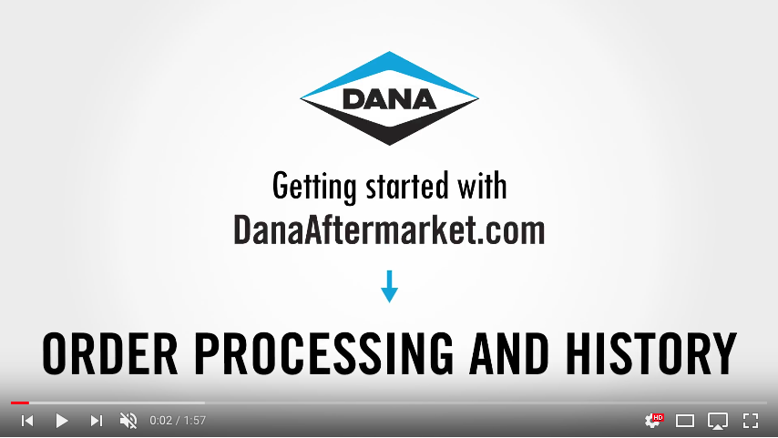 DanaAftermarket.com Order Processing and History