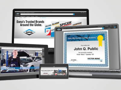 responsive design showcase of Dana Aftermarket Training Academy on multiple devices